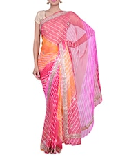 Multicoloured Georgette  Sequin Worked Saree - By