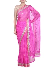 Pink Kota Silk  Sequin Worked Saree - By