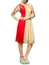 Embroidered Beige And Red Faux Georgette Kurta - By