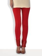 Solid Maroon Cotton Lycra Leggings With Lace Trim - By