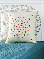 White Polka Dots Emb Cushion Cover With Contrast Piping. - By
