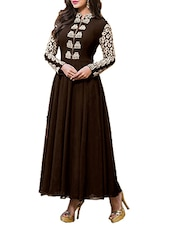 Embroidered Brown Georgette Dress Material - By