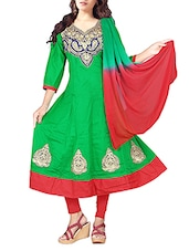Embroidered Green Cotton Semi-Stitched Dress Material - By