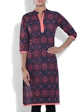 Pink And Navy Blue Cotton Printed Kurti - By
