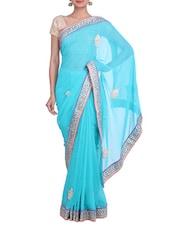 Sky Blue Embellished Zari Work Georgette Saree - By