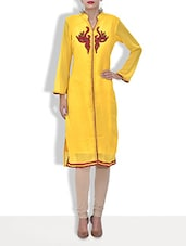 Yellow Georgette Embroidered Three Quarter Sleeved Long Kurti - By