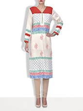 White Cotton Printed Three Quarter Sleeved Long Kurti - By