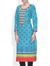 Blue Cotton Printed Three Quarter Sleeved Long Kurti - By