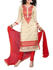Beige Chiffon Embroidered Semi Stitched Suit Set - By
