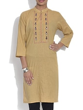 Brown Cotton Kurta With Mirror Work - By