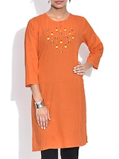 Orange Cotton Kurta With Mirror Work - By
