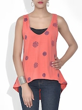 Coral Block Printed Cotton Sleeveless Top - By