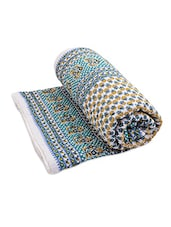 Blue Cotton Block Printed  Double Bed Quilt - By