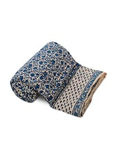 Blue Cotton Floral Printed Double Bed Quilt - By