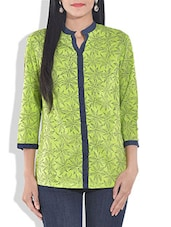 Green Cotton Block Printed Tunic - By
