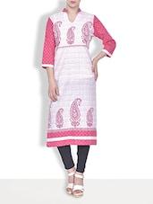 Pink Cotton Paisley Printed Three Quarter Sleeved Casual Kurta - By
