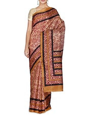 Beige Printed Art Bhagalpuri Khadi Silk Saree - By