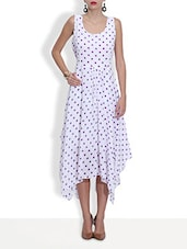 White Poly Georgette Polka Dot  Dress - By