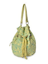 Yellow Rexine Floral Printed Hand Bag - By