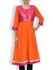 Red Georgette Printed Three Quarter Sleeved A Line Kurta - By