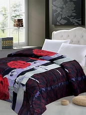 Black And Maroon Printed Double Quilt - By