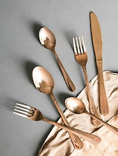 Copper Stainless Steel 24 Piece Cutlery Set - By