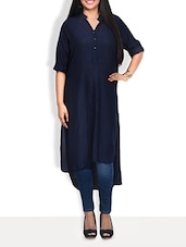 Solid Black Rayon Hi-low Kurta - By