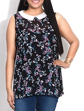 Black Floral Printed Sleeveless Top - By