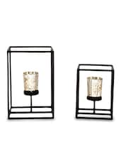 Brown Iron And Glass Tea Light Holders With Gold Glass - By