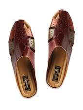 Maroon Faux Leather Slip On Sandals - By