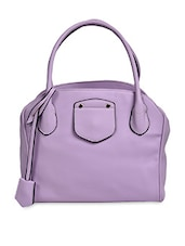 Solid Mauve Faux Leather Handbag - By