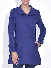 Solid Royal Blue Woolen Full Sleeves Coat - By