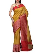 Yellow Tussar Silk Zari Handwoven  Saree - By