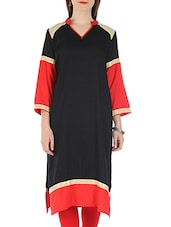 Black And Red Rayon Sequined Kurti - By