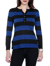 Blue And Black Striped Woolen Pullover - By