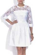 White Floral Laced Cotton Dress - By