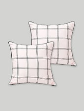 Set Of 2 White Checkered Art Silk Cushion Covers - By