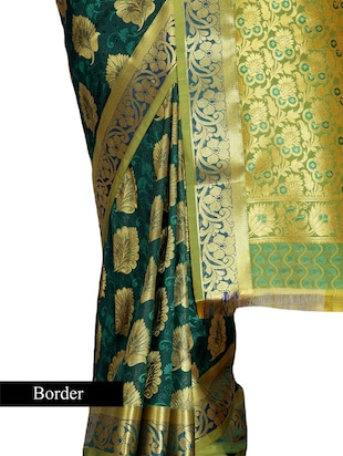Dark green Art kanjivaram silk saree - 9600604 - Standard Image - 3