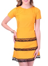 Mustard Poly Crepe A-Line Dress With Lace Detail - By