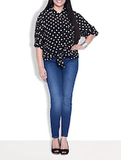 Black Polka-dotted Front Knot Top - By