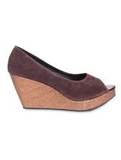Brown Velvet Peep-Toe Wedges - By