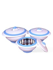 Set Of 3 White Air-tight Stainless Steel Casseroles - By