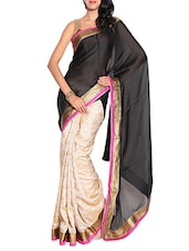 Black Chiffon Embroidered Saree With Blouse Piece - By