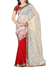 Beige & Red Brasso Embroidered Saree - By