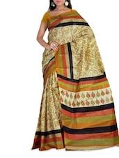 Beige & Black Art Silk Printed Saree - By