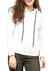 Solid White Cotton Quilted Knit Jacket - By - 9605027