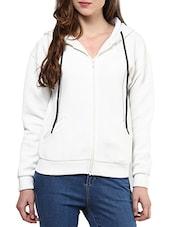 Solid White Cotton Quilted Knit Jacket - By