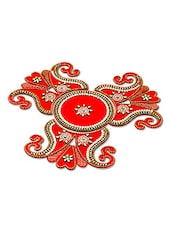 Red And Gold Stone Studded Rangoli Art For Diwali - By