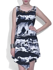 Black And White Crepe Printed Dress - By