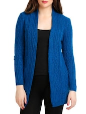 Royal Blue Full-sleeved Open Front Cardigan - By